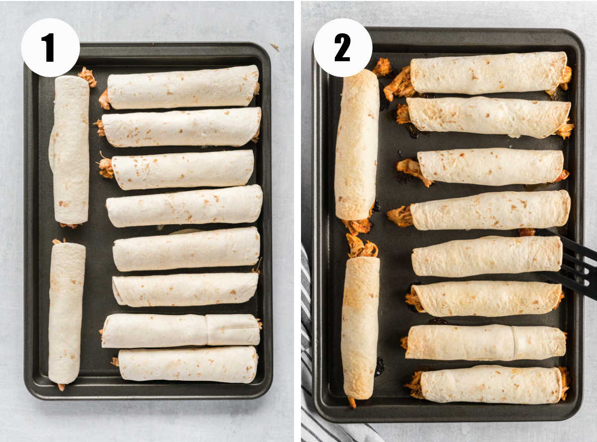 Chicken taquitos on a baking sheet before and after baking.