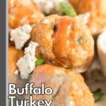Turkey meatballs covered in hot sauce, crumbled blue cheese and green onions.