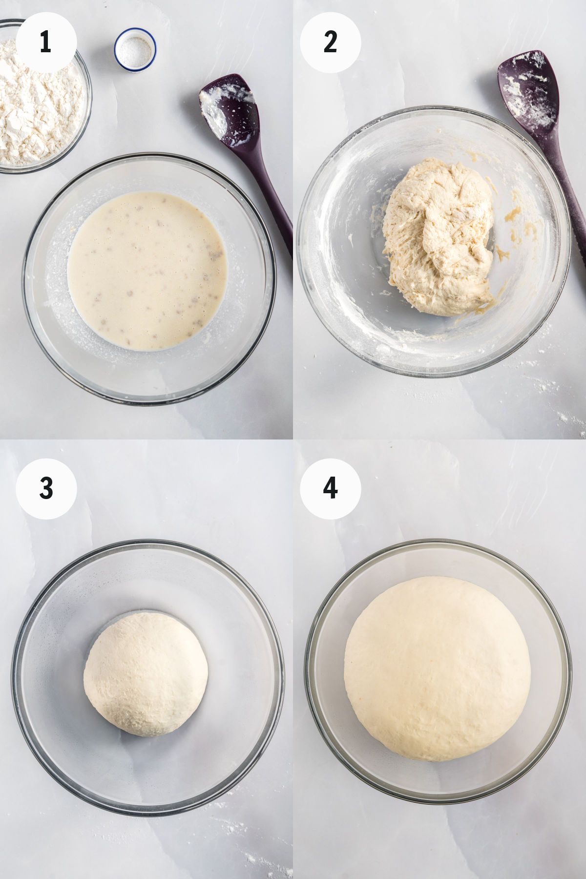 Process of mixing and rising dough.