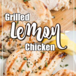 Grilled chicken breast on a plate with a close up of one sliced into strips.