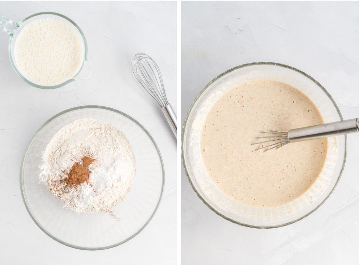 Waffle ingredients in a medium size bowl mixed to a thick batter.