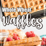 Waffles on a waffle iron and cooked waffles in a stack with berries and syrup.