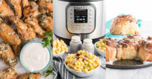 Three image collage: Left garlic chicken wings, middle instant pot Mac and cheese, right air fryer cinnamon rolls.