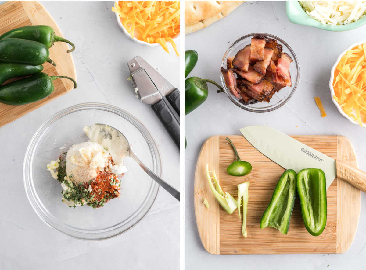 Two images, A small bowl with ingredients for cream cheese spread on the left, seeded and halved jalapeños on the right.