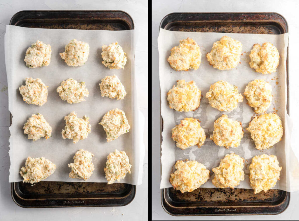 Biscuits on a baking sheet lined with parchment paper before and after baking.