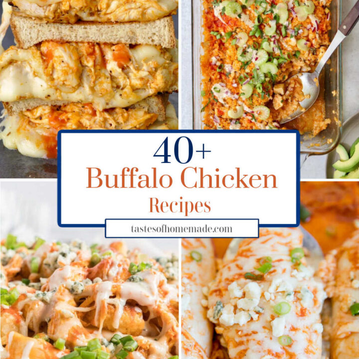 Collage of four buffalo chicken images. Grilled cheese, top left. Chicken casserole, top right. Chicken tater tots, bottom left. Baked chicken breast, bottom right.