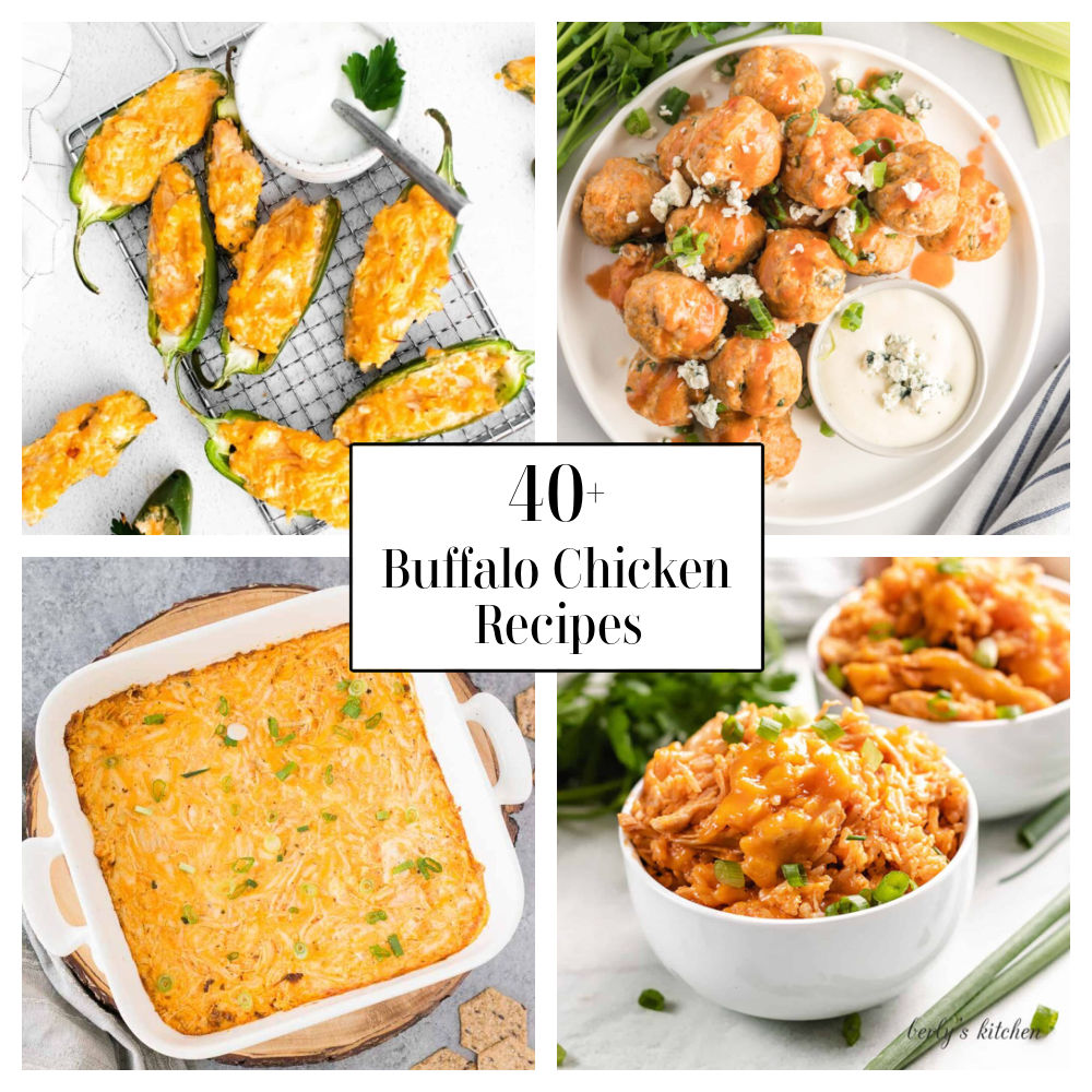 Collage of four buffalo chicken images.  Jalapeno poppers, top left.  Meatballs, top right. Hot dip, bottom left. Chicken and rice, bottom right.