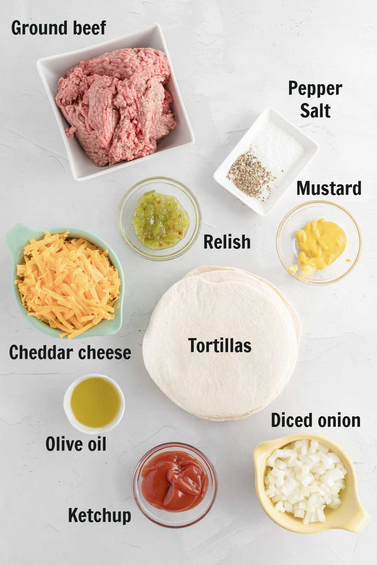 Ingredients for beef taquitos.