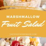 Ambrosia salad in a glass bowl topped with cherries.