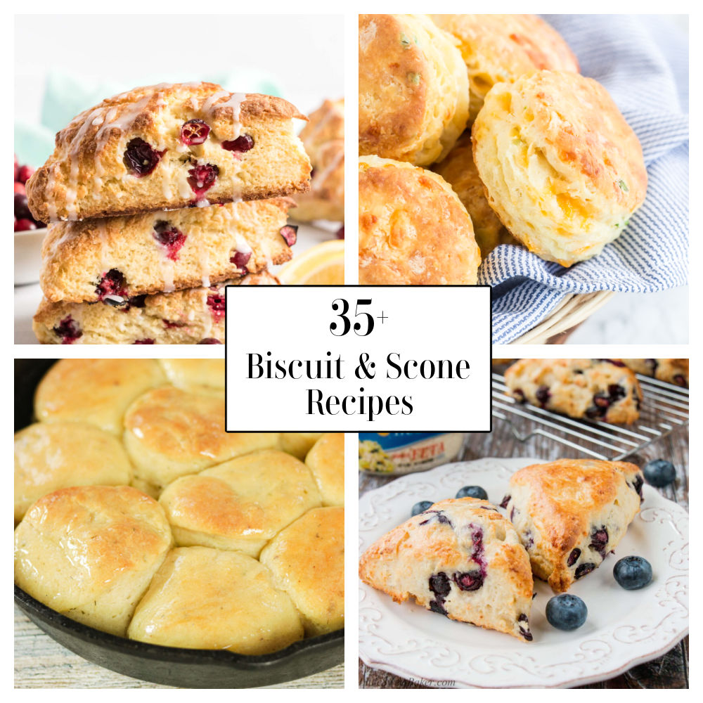 Collage of scone images. Top left, cranberry scones. Bottom left, biscuits in a cast iron pan. Top right, cheddar biscuits. Bottom right, blueberry scones.