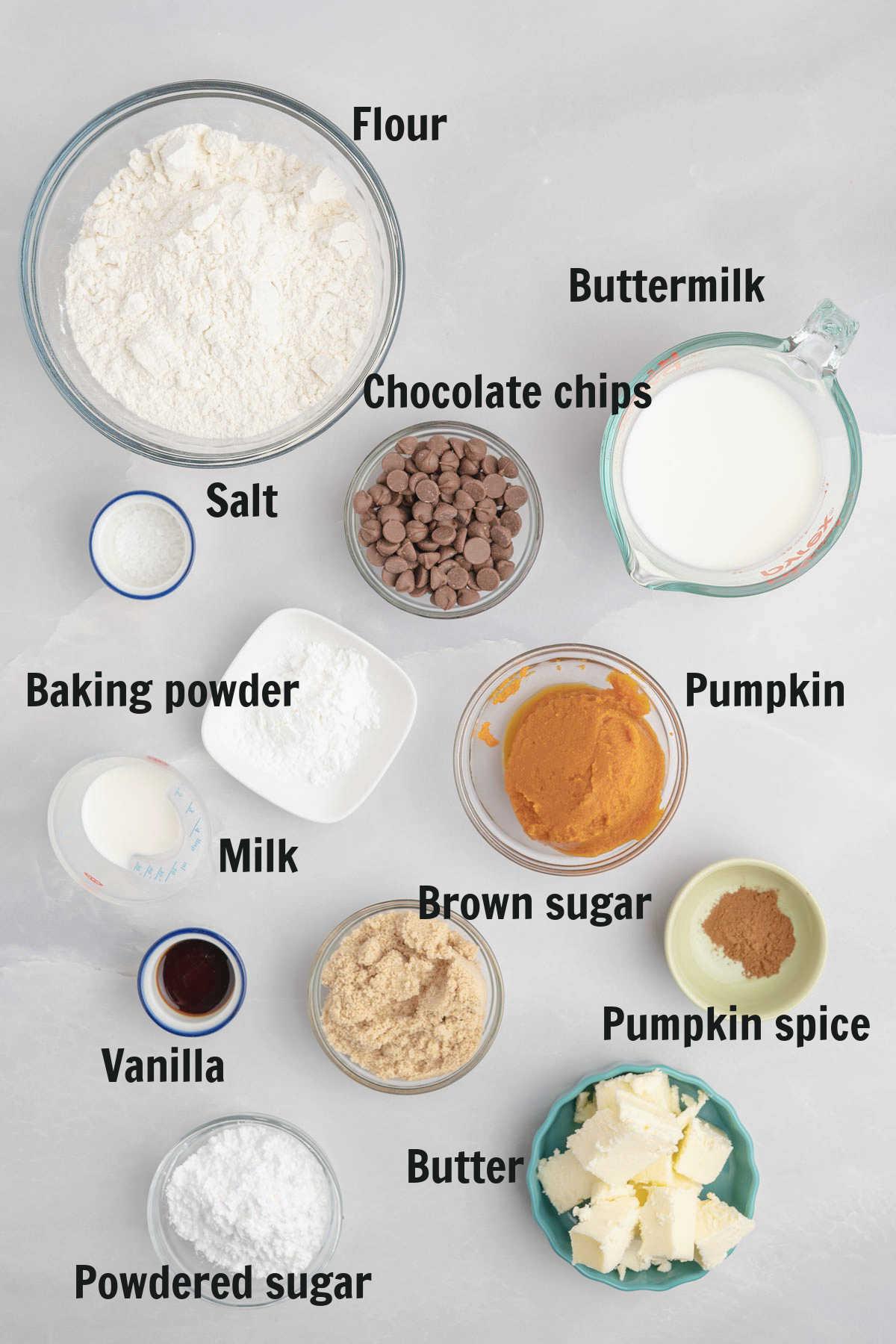 Ingredients for pumpkin scones.