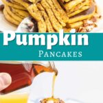 Pumpkin pancakes topped with butter and pecans.